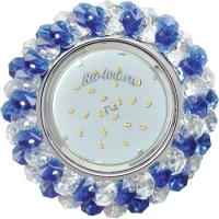 Ecola GX53 H4 5341 Glass Круглый с хрусталиками Прозрачный и Голубой /Хром 56x120 (к+)