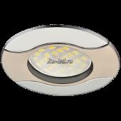 Ecola MR16 HL029 GU5.3 Светильник встр. литой Волна (скрытый крепеж лампы) Сатин-Хром/Хром 22x82 (кd74)