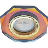 Ecola MR16 DL1652 GU5.3 Glass Стекло 8-угольник с прямыми гранями Мультиколор / Золото 25x90 (кd74)