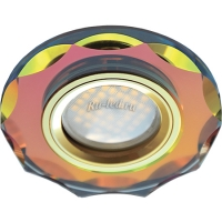 Ecola MR16 DL1653 GU5.3 Glass Стекло Круг с вогнутыми гранями Мультиколор / Золото 25x90 (кd74)