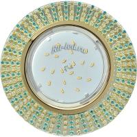 Ecola GX53 H4 5363 Glass Круг с прозр.и бирюз. стразами (оправа золото)/фон зерк./центр.часть золото 40x120 (к+)