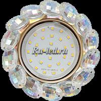 Ecola GX53 H4 5342 Glass Круглый с большими хрусталиками Прозр.искристый/Золото 56x125 (к+)
