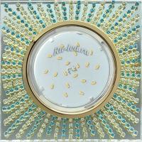 Ecola GX53 H4 5353 Glass Квадрат с прозр.и бирюз. стразами (оправа золото)/фон зерк../центр.часть золото 40x123x123 (к+)