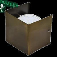 Ecola GX53-N51 светильник настенный бра прямоугольный черненая бронза 1* GX53 100х100х90 (1 из цв. уп. по 2)