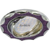 Ecola MR16 DL36 GU5.3 Светильник встр. литой поворотный Звезда под стеклом Фиолетовый блеск/Хром 22x84