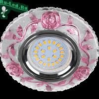 """Ecola MR16 LD7071 GU5.3 Светильник встр. искристый с подсветкой """"Розы"""" Прозрачный и Розовый / Хром 25x95"""