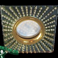 Ecola MR16 DL1659 GU5.3 Glass Стекло Квадрат с прозр.стразами (оправа золото)/фон черный./центр.часть золото 30x95x95