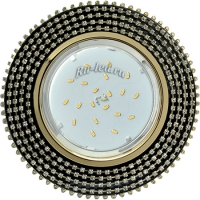 Ecola GX53 H4 5362 Glass Круг с прозр.стразами (оправа золото)/фон черный./центр.часть золото 40x120 (к+)