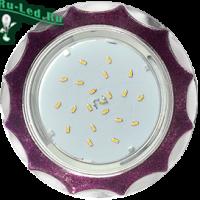 Ecola GX53 H4 DL3902 светильник встраив. без рефл.  Звезда под стеклом Фиолетовый блеск / хром 106х38 (к+)