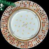 Ecola GX53 H4 5319 Glass Круг с  прозр.-янтарной мозаикой/фон зерк../центр.часть черненая бронза 40x123x123 (к+)