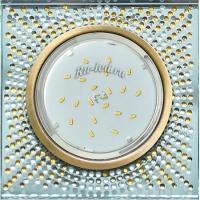 Ecola GX53 H4 5320 Glass Квадрат с  прозр.-янтарной мозаикой/фон зерк../центр.часть черненая бронза 40x123x123 (к+)