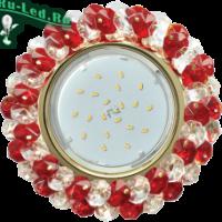 Ecola GX53 H4 5341 Glass Круглый с хрусталиками Прозрачный и Рубин /Хром 56x120 (к+)