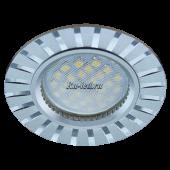 Ecola MR16 DL3183 GU5.3 Светильник встр. литой (скрытый крепеж лампы) матовый Хром/Алюм Полоски по кругу 23x78 (кd74)
