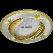 Ecola MR16 DL21 GU5.3 Светильник встр. литой поворотный искр.гравир. Четыре цветка Сатин-Хром/Золото 23x84