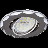 Ecola MR16 DH07 GU5.3 Светильник встр. поворотный Звезда (скрытый крепеж лампы) Черный Хром/Хром 25x88 (кd74)