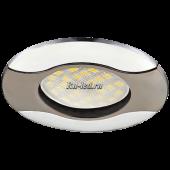Ecola MR16 HL029 GU5.3 Светильник встр. литой Волна (скрытый крепеж лампы) Черный Хром/Хром 22x82 (кd74)