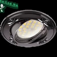 Ecola MR16 DL21 GU5.3 Светильник встр. литой поворотный искр.гравир. Четыре цветка Черный Хром 23x84