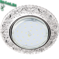 """Ecola GX53 H4 LD7040 Светильник встр. искристый с подсветкой """"Бабочки"""" Прозрачный / Хром 35x125 (к+)"""