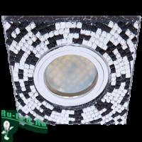 Ecola MR16 DL1658 GU5.3 Glass Стекло Квадрат с  прозр.-черной мозаикой/фон зерк../центр.часть хром 28x95x95