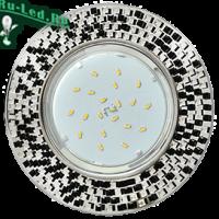 Ecola GX53 H4 5319 Glass Круг с  прозр.-черной мозаикой/фон зерк../центр.часть хром 40x123x123 (к+)