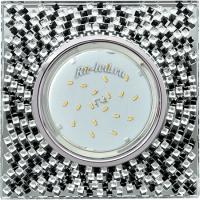 Ecola GX53 H4 5320 Glass Квадрат с  прозр.-черной мозаикой/фон зерк../центр.часть хром 40x123x123 (к+)
