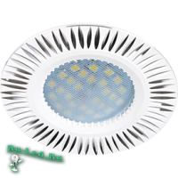 Ecola MR16 DL3182 GU5.3 Светильник встр. литой (скрытый крепеж лампы) Белый/Алюм Рифленые Реснички по кругу 23x78 (кd74)