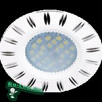 Ecola MR16 DL3184 GU5.3 Светильник встр. литой (скрытый крепеж лампы) Белый/Алюм Двойные Реснички по кругу 23x78 (кd74)