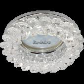 Ecola MR16 CD4141 GU5.3 Светильник встр. круглый с хрусталиками Прозрачный/Хром 50x90 (кd74)