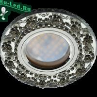 Ecola MR16 DL1660 GU5.3 Glass Стекло Круг с  прозрачными стразами Корона (оправа хром)/фон зерк./центр.часть хром 28x93