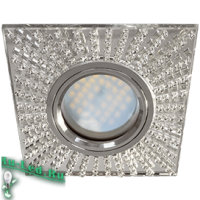 Ecola MR16 DL1659 GU5.3 Glass Стекло Квадрат с прозр.стразами (оправа хром)/фон зерк./центр.часть хром 30x95x95