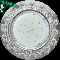 Ecola GX53 H4 5360 Glass Круг с  прозрачными стразами Корона (оправа хром)/фон зерк../центр.часть хром 52x120 (к+)