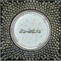 Ecola GX53 H4 5320 Glass Квадрат с  прозр.  мозаикой/фон черный./центр.часть хром 40x123x123 (к+)
