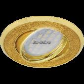 Ecola MR16 DL39 GU5.3 Светильник встр. литой поворотный Круг под стеклом Золотой блеск/Золото 23x88