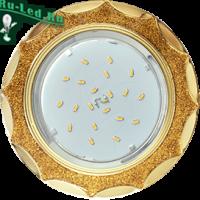 Ecola GX53 H4 DL3902 светильник встраив. без рефл.  Звезда под стеклом Золотой блеск / золото 106х38 (к+)