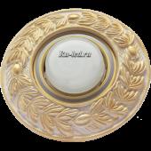 """Ecola накладка широкая гипсовая """"оливковый венок"""" для встр. свет-ка GX53 H4 золото на белом 23х195"""