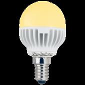 Ecola globe   LED  4,2W G45 220V E14 золотистый шар (ребристый алюм. радиатор) 81x45