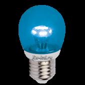 Ecola globe   LED color  3,0W G45 220V E27 Blue Синий (насыщенный цвет) прозрачный шар искристая пирамида 84x45