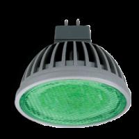 Ecola MR16   LED  color  4,2W 220V GU5.3 Green Зеленый прозрачное стекло (ребристый алюм. радиатор) 47х50