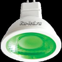 Ecola MR16   LED color  4,2W  220V GU5.3 Green Зеленый (насыщенный цвет) прозрачное стекло (композит) 47х50
