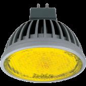 Ecola MR16   LED  color  4,2W 220V GU5.3 Yellow Желтый прозрачное стекло (ребристый алюм. радиатор) 47х50