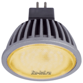 Ecola MR16   LED  5,4W 220V GU5.3 золотистая прозрачное стекло (ребристый алюм. радиатор) 47x50
