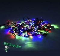 Ecola LED гирлянда 220V IP20 Нить  8м 120Led  RGBW, 8 режимов, зеленый провод с вилкой