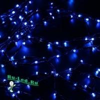 Ecola LED гирлянда 220V IP20 Нить  6м 100Led Синяя Blue, 8 режимов, прозр.провод с вилкой