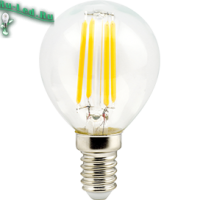 Ecola globe   LED Premium  6,0W G45 220V E14 2700K 360° filament прозр. нитевидный шар (Ra 80, 100 Lm/W, КП=0) 78х45