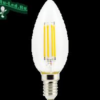 Ecola candle   LED Premium  6,0W  220V E14 2700K 360° filament прозр. нитевидная свеча (Ra 80, 100 Lm/W, КП=0) 96х37