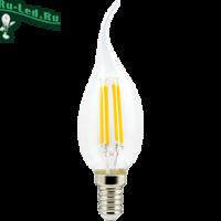 Ecola candle   LED Premium  6,0W  220V E14 4000K 360° filament прозр. нитевидная свеча на ветру (Ra 80, 100 Lm/W, КП=0) 125х37