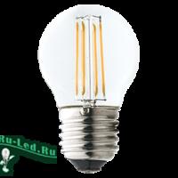 Ecola globe   LED Premium  6,0W G45 220V E27 6000K 360° filament прозр. нитевидный шар (Ra 80, 100 Lm/W, КП=0) 68х45