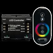 Ecola LED strip RGB RF controller 18A 216W 12V (432W 24V) с кольцевым сенсорным черным радиопультом