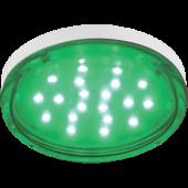 Ecola GX53   LED color  4,4W Tablet 220V Green Зеленый (насыщенный цвет) прозрачное стекло 27x74