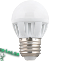 Ecola Light Globe  LED  7,0W G45  220V E27 2700K шар (композит) 82x45  (1 из ч/б уп. по 4)